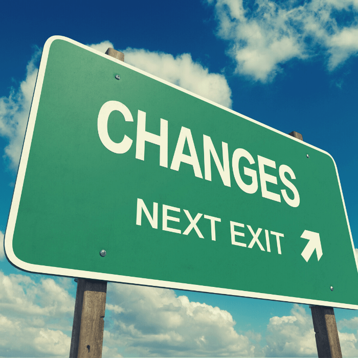 Road sign about changes