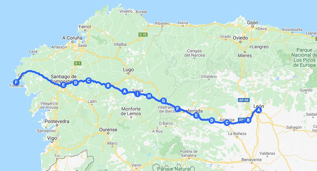 Gelopen route vanuit Google maps
